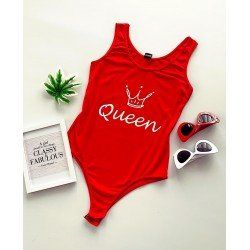 Body dama casual de vara rosu cu imprimeu Queen