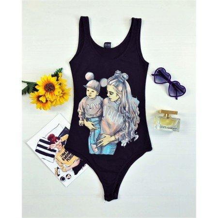 Body dama de vara casual ieftin negru cu imprimeu din bumbac