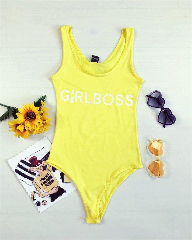 Body dama galben casual de vara cu imprimeu