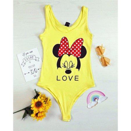 Body dama galben cu imprimeu Mickey casual de vara