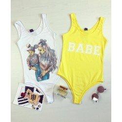 Body dama galben de vara casual cu imprimeu Babe