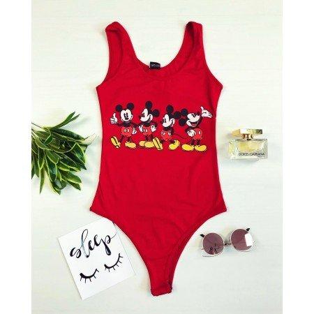 Body dama rosu din bumbac de vara casual cu imprimeu Disney