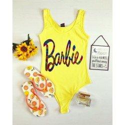 Body dama galben cu imprimeu Barbie casual de vara din bumbac