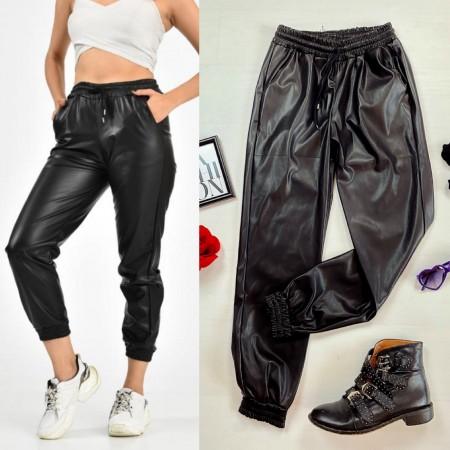 Pantaloni dama negri casual din piele ecologica