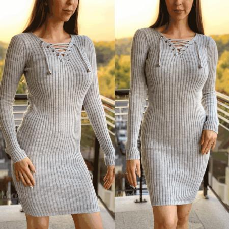 Rochie dama gri tricot cu snur