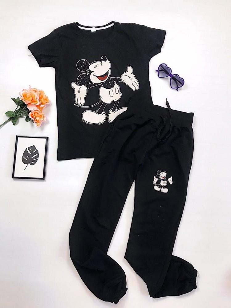 Compleu Mickey tricou negru si pantaloni lungi