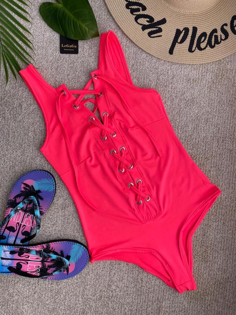 Body dama scurt roz neon cu siret