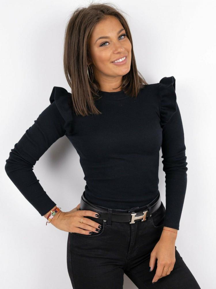 Bluza dama pe gat neagra casual de zi cu maneca lunga si volanase