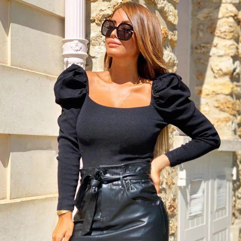 Bluza dama neagra cu volanase din bumbac