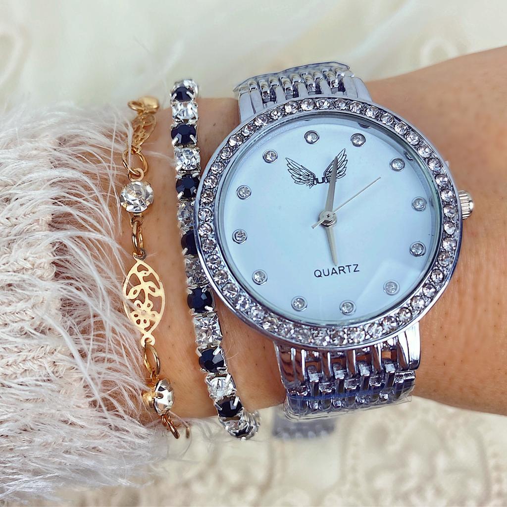 Ceas dama elegant argintiu cu cristale