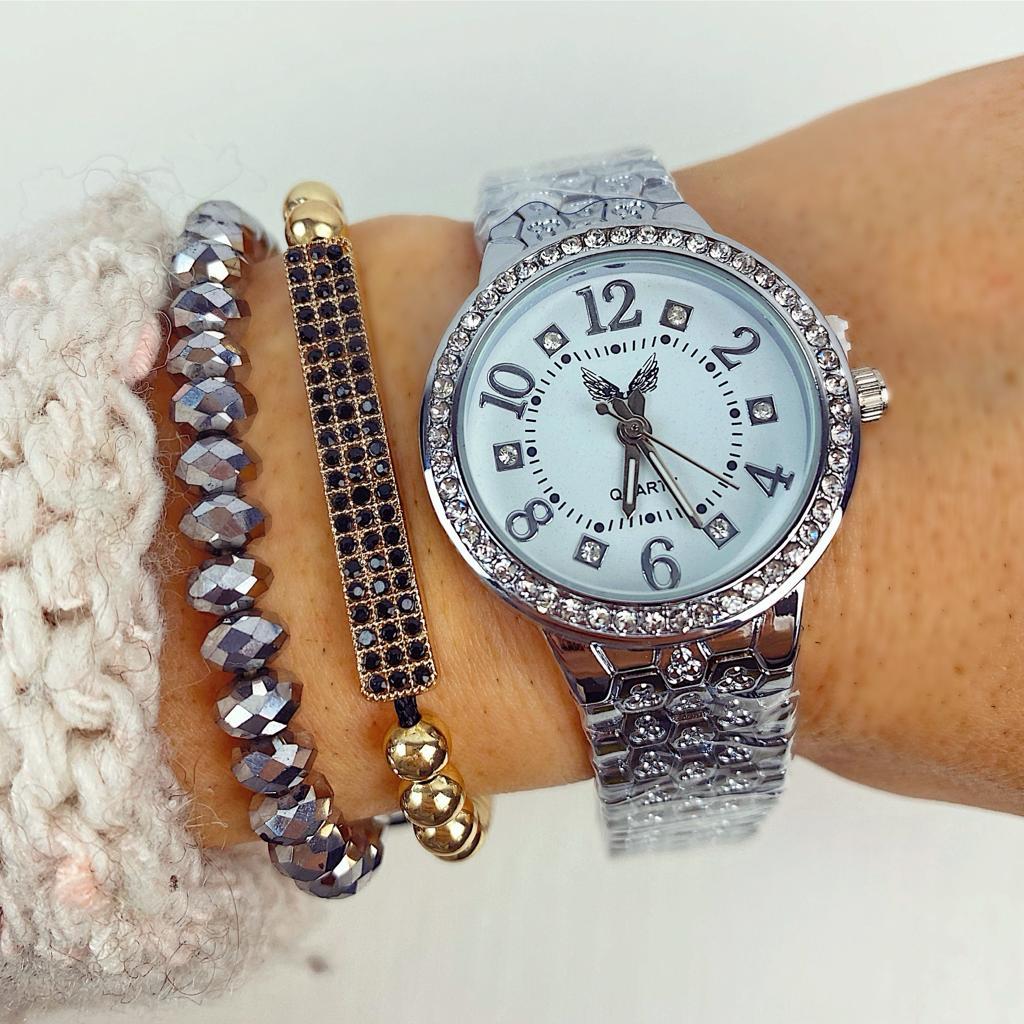 Ceas dama elegant argintiu cu cristale si bratara metalica unica