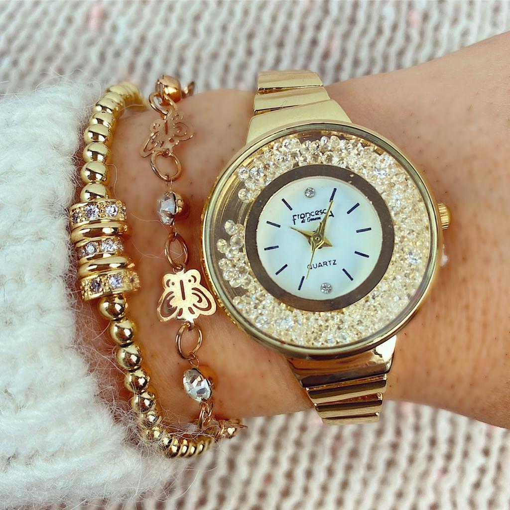 Ceas dama casual elegant auriu cu cristale mobile