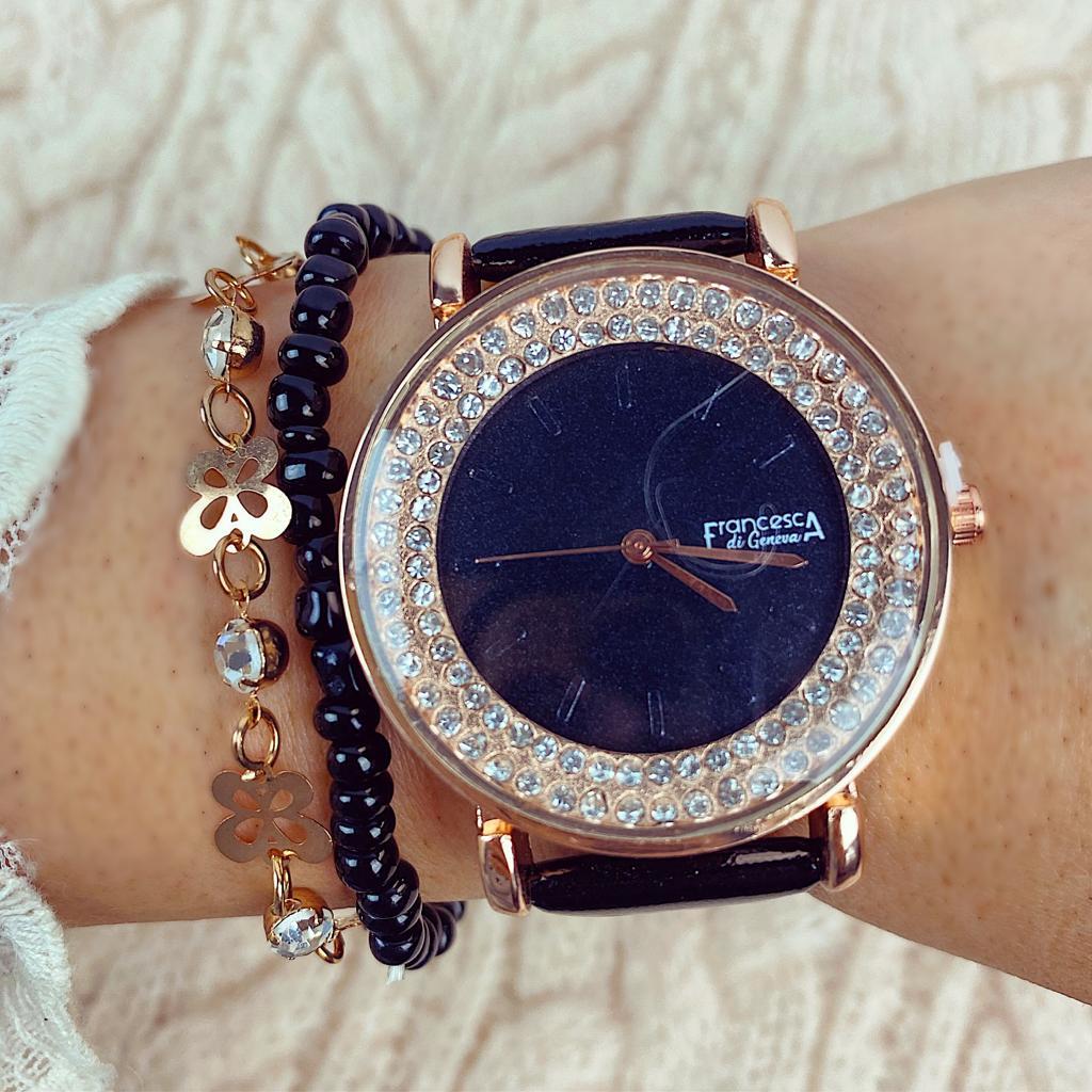 Ceas dama negru din piele ecologica cu cristale