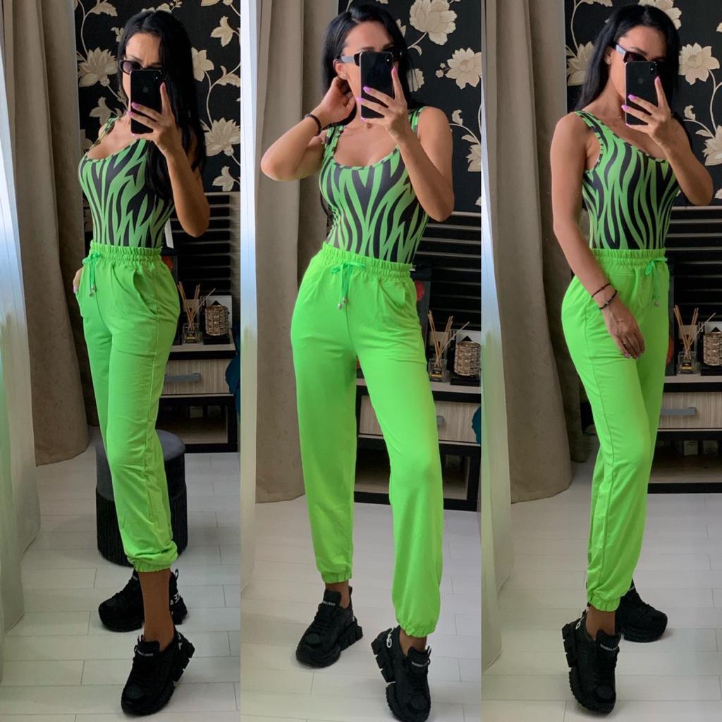 Pantaloni dama casual verde neon lungi cu buzunare