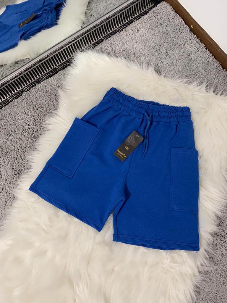Pantaloni scurti dama albastri casual din bumbac