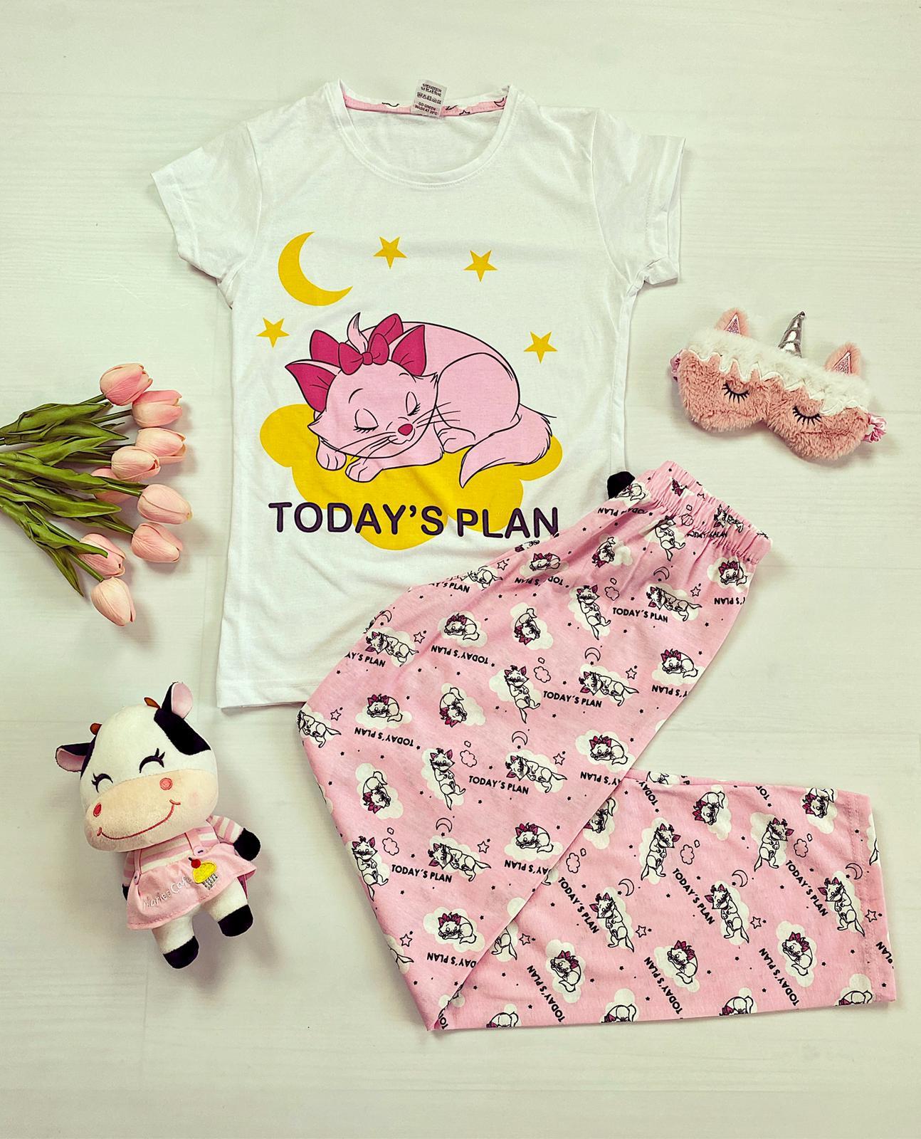 Pijama dama alba cu imprimeu Pisica Marie si pantaloni roz