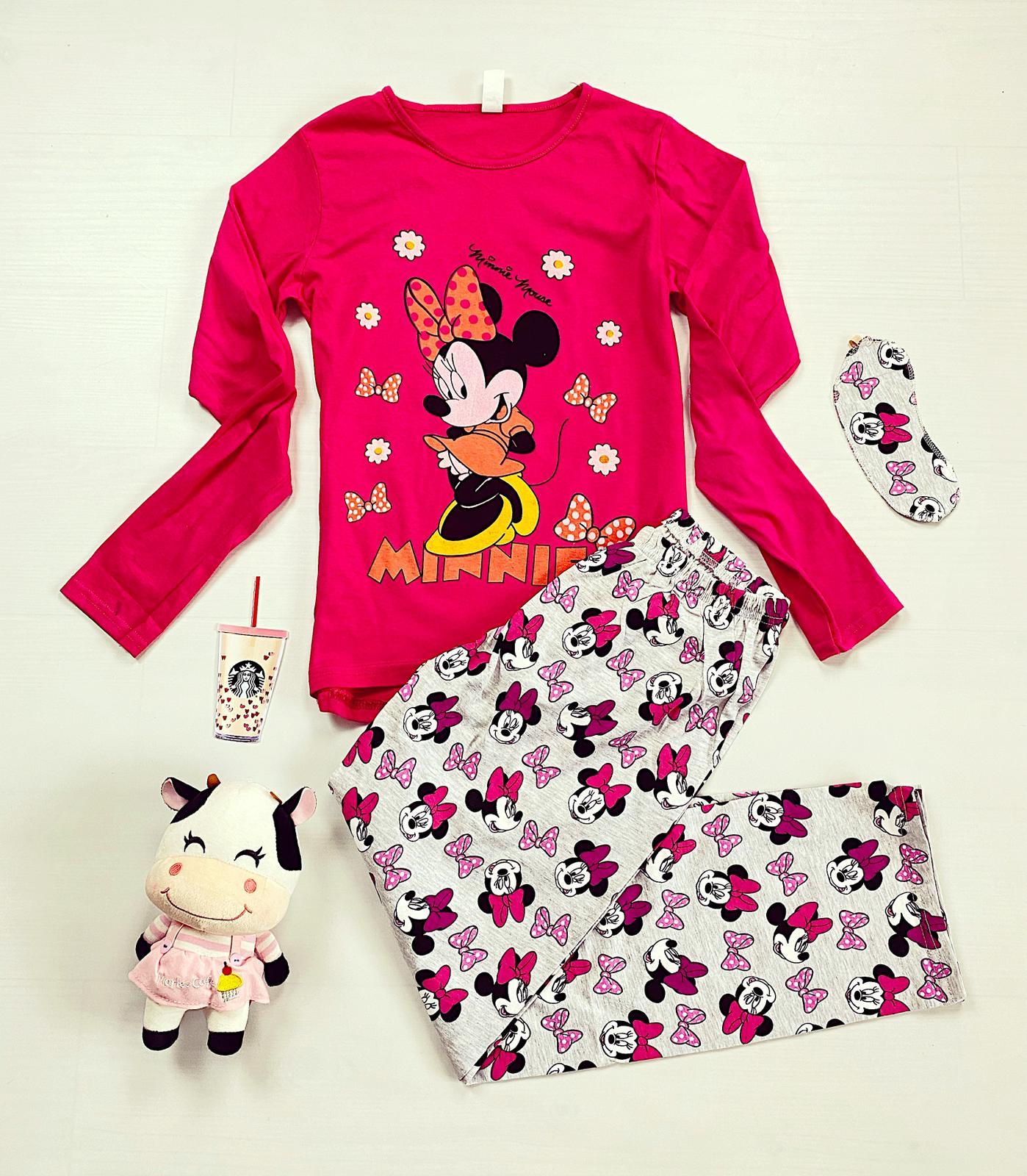 Pijama dama roz lunga cu imprimeu Minnie