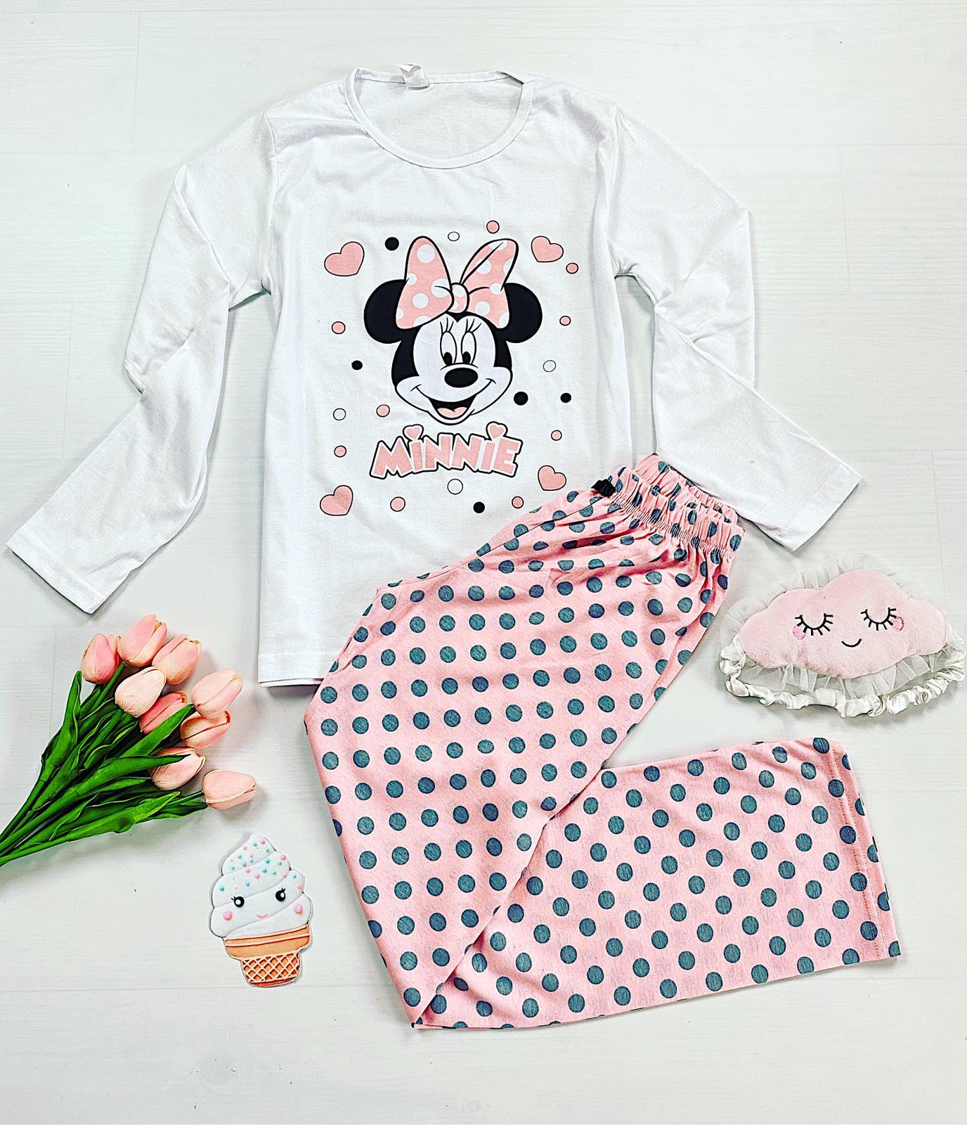Pijama dama lunga din bumbac alba cu imprimeu Minnie