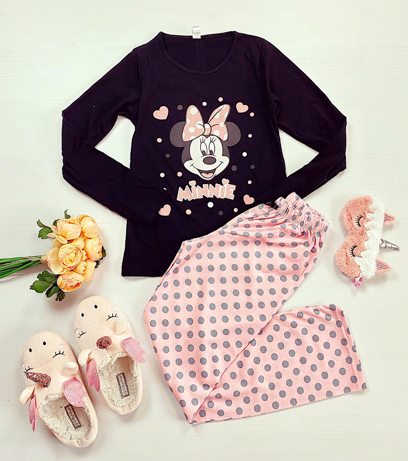 Pijama dama lunga din bumbac neagra cu imprimeu Minnie