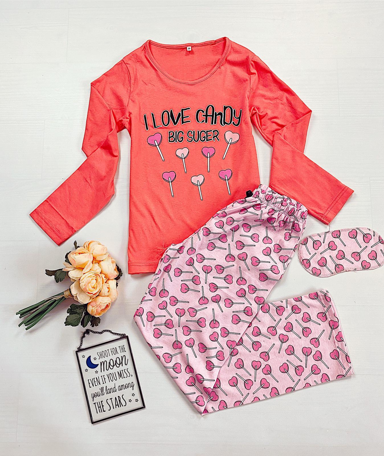 Pijama dama lunga din bumbac corai cu imprimeu Acadele