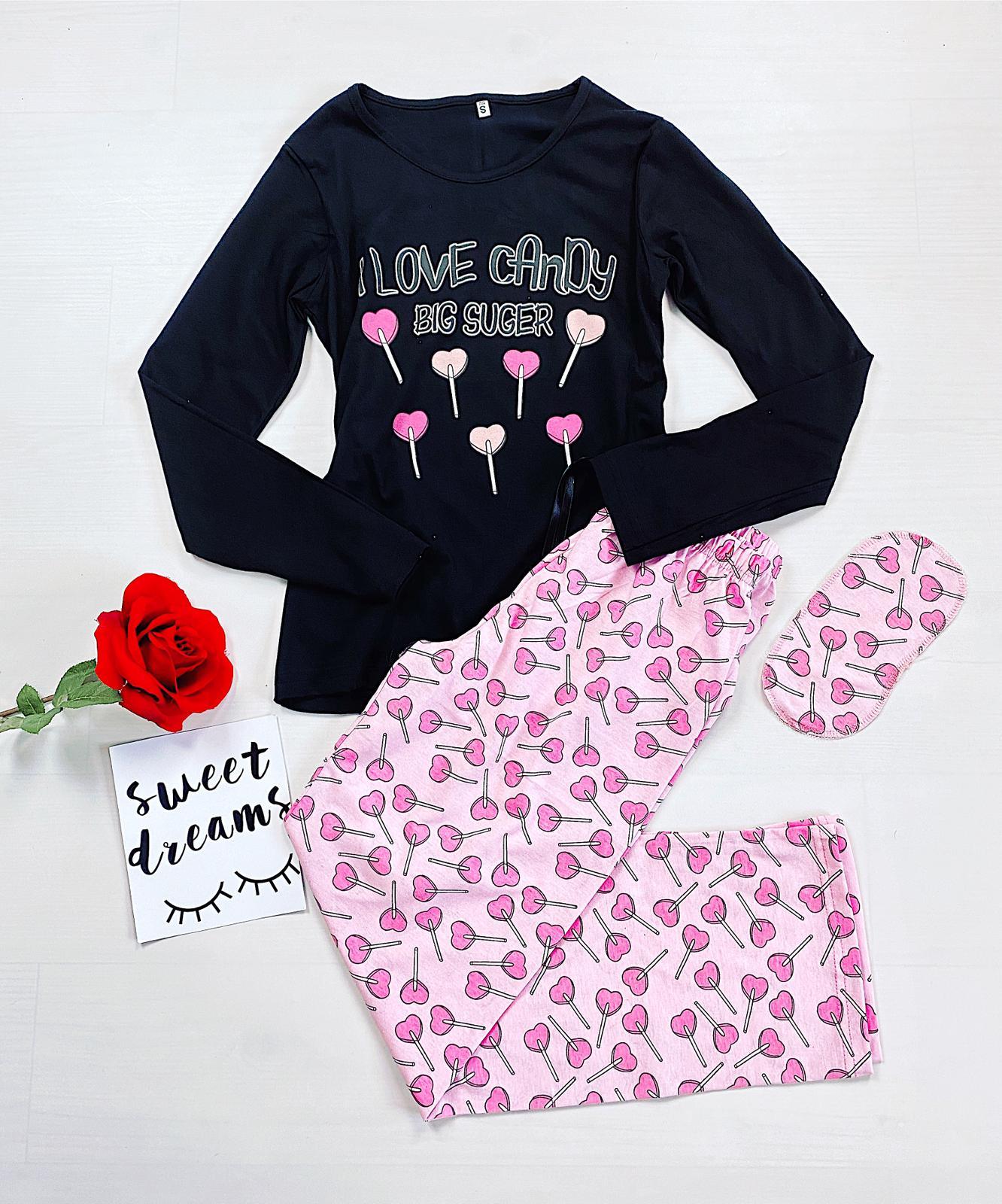 Pijama dama lunga din bumbac neagra cu imprimeu Acadele
