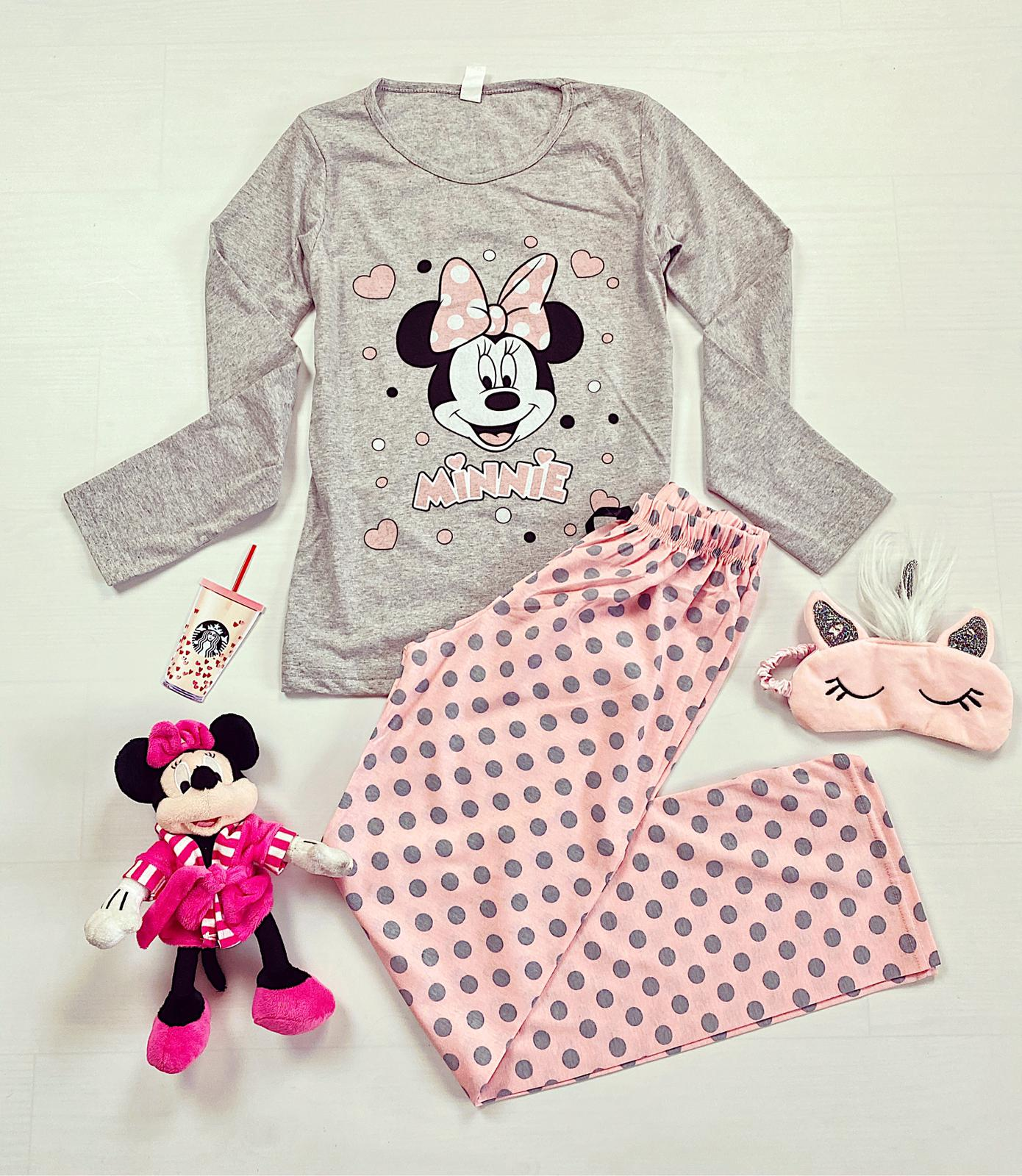 Pijama dama lunga din bumbac gri cu imprimeu Minnie