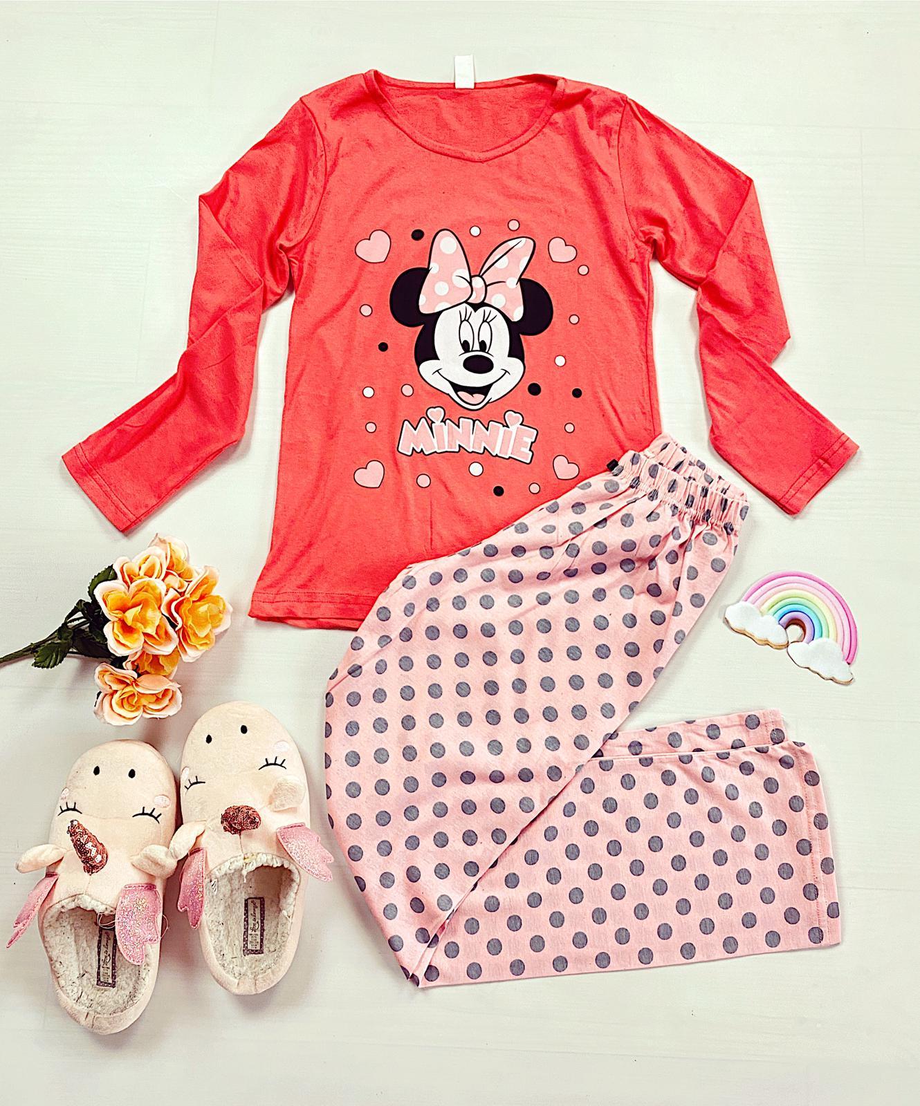 Pijama dama lunga din bumbac corai cu imprimeu Minnie