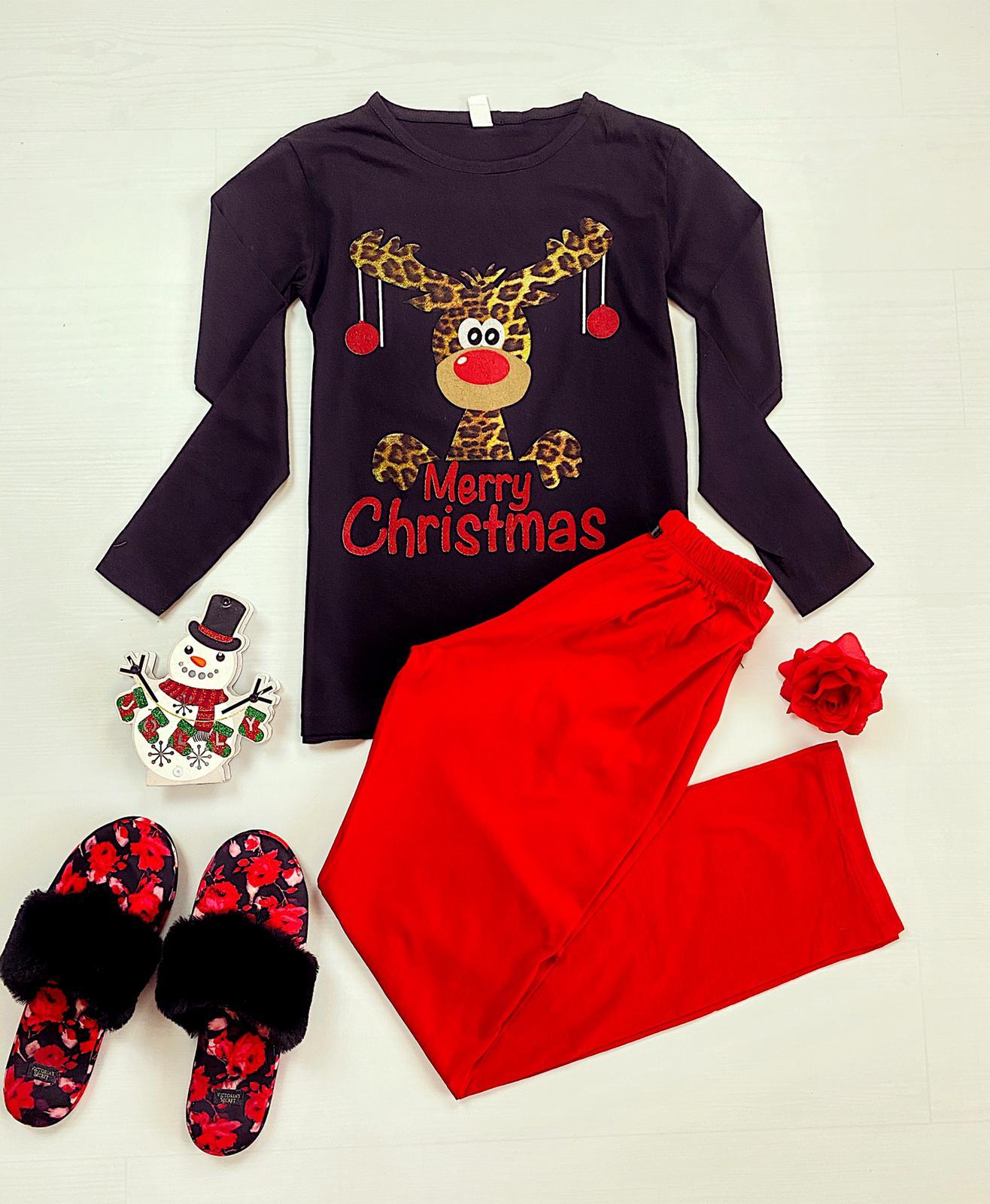 Pijama dama neagra cu rosu cu imprimeu Ren festiv