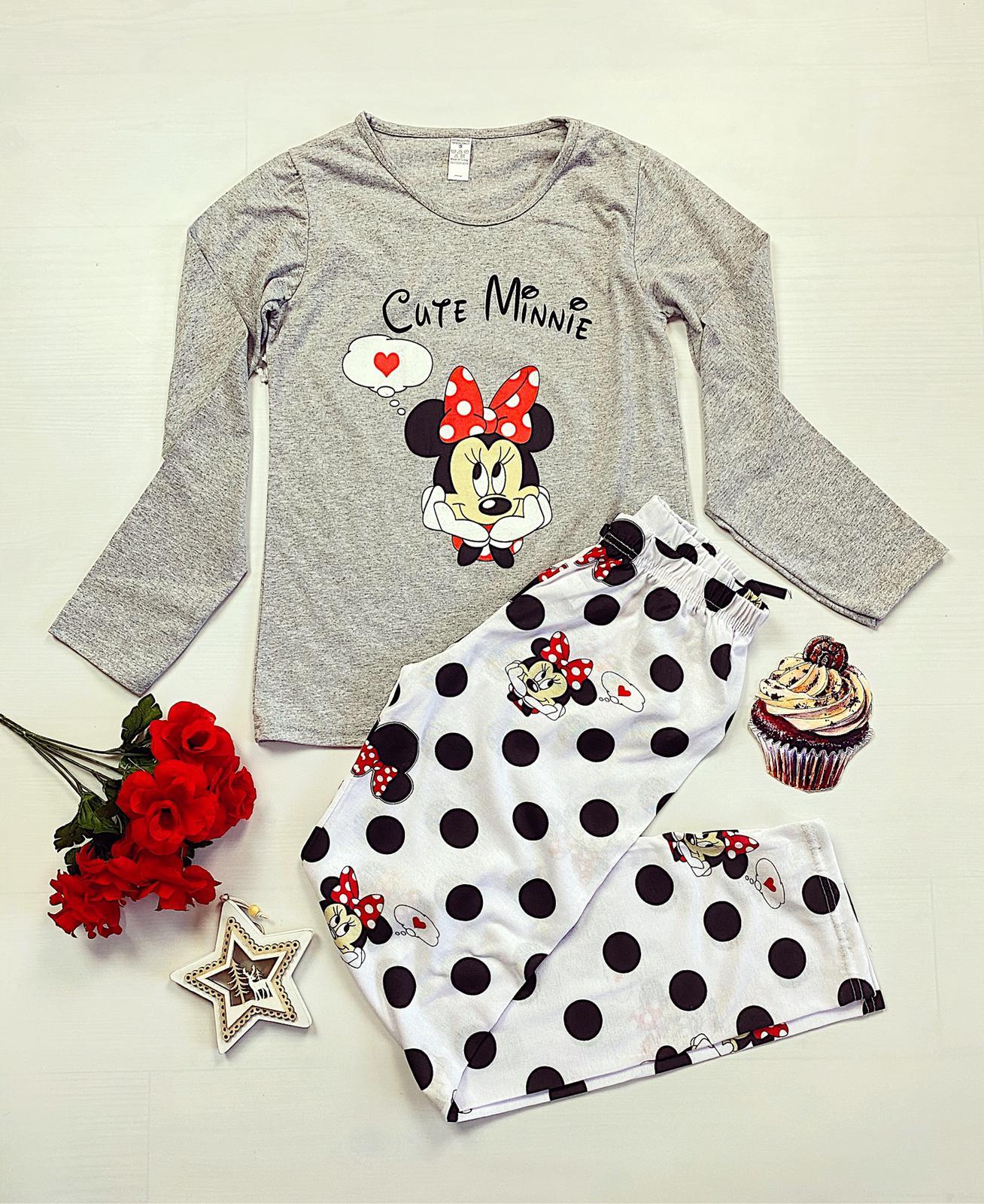 Pijama dama lunga gri cu imprimeu Minnie Cute