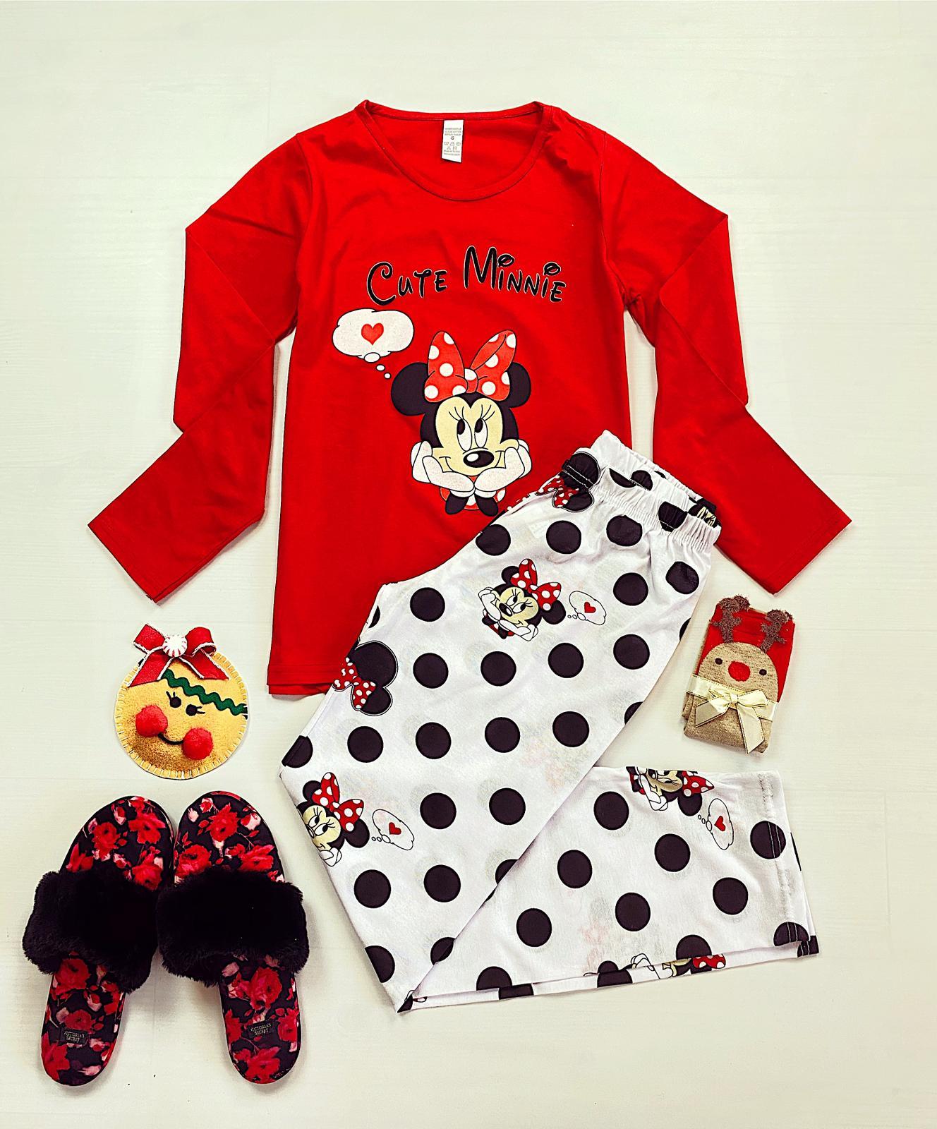 Pijama dama lunga rosie cu imprimeu Minnie Cute
