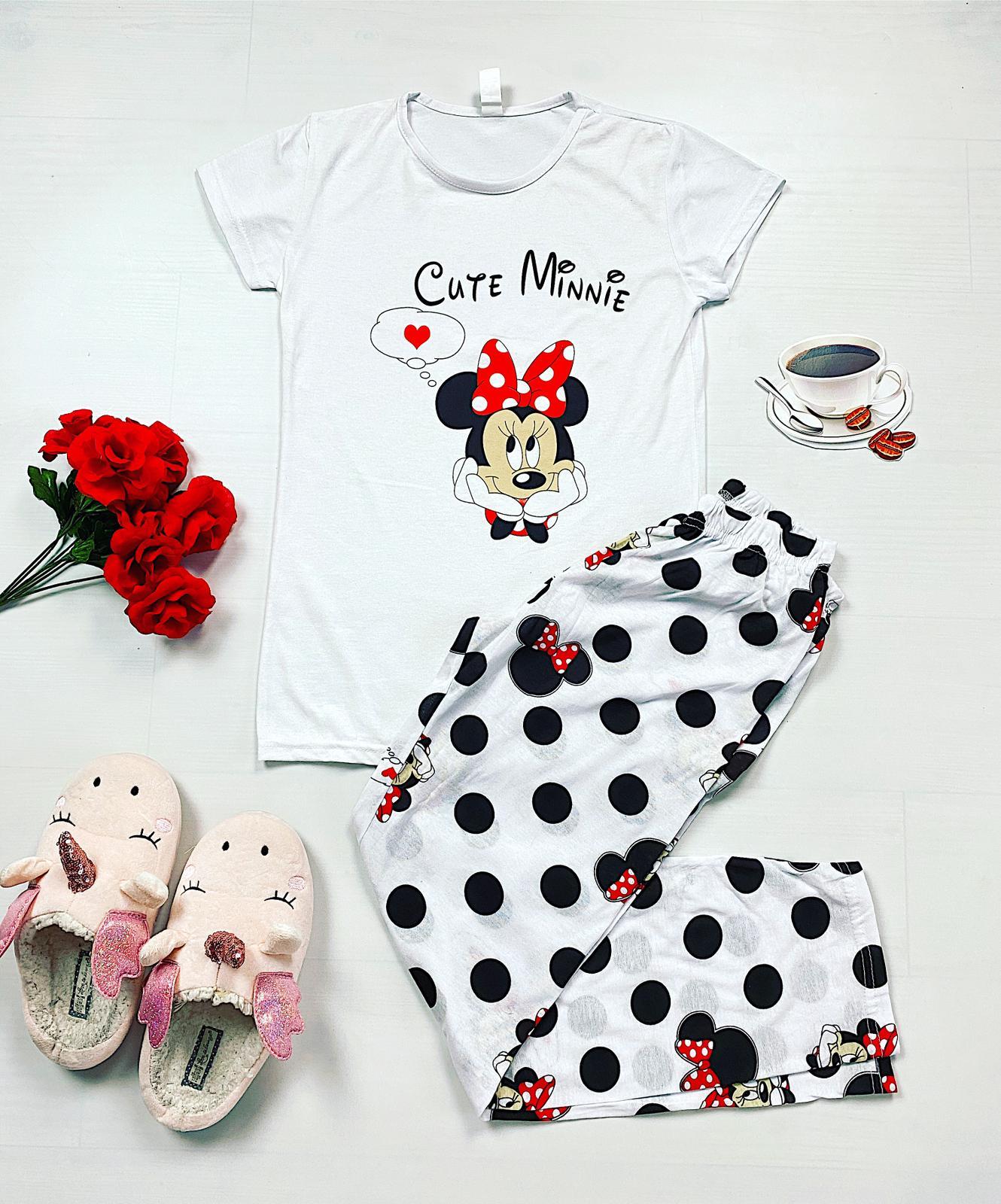Pijama dama lunga alba cu imprimeu buline Minnie Cute