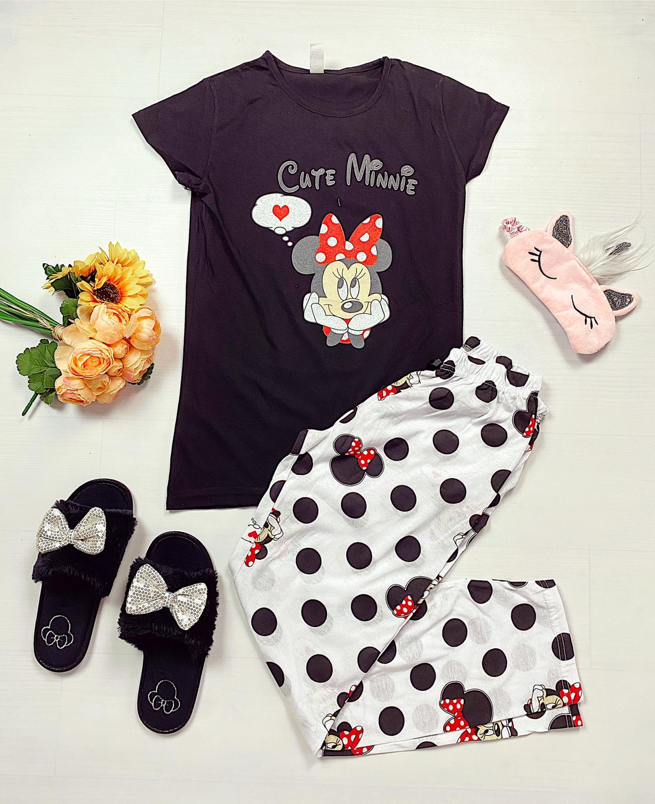 Pijama dama lunga neagra cu imprimeu buline Minnie Cute