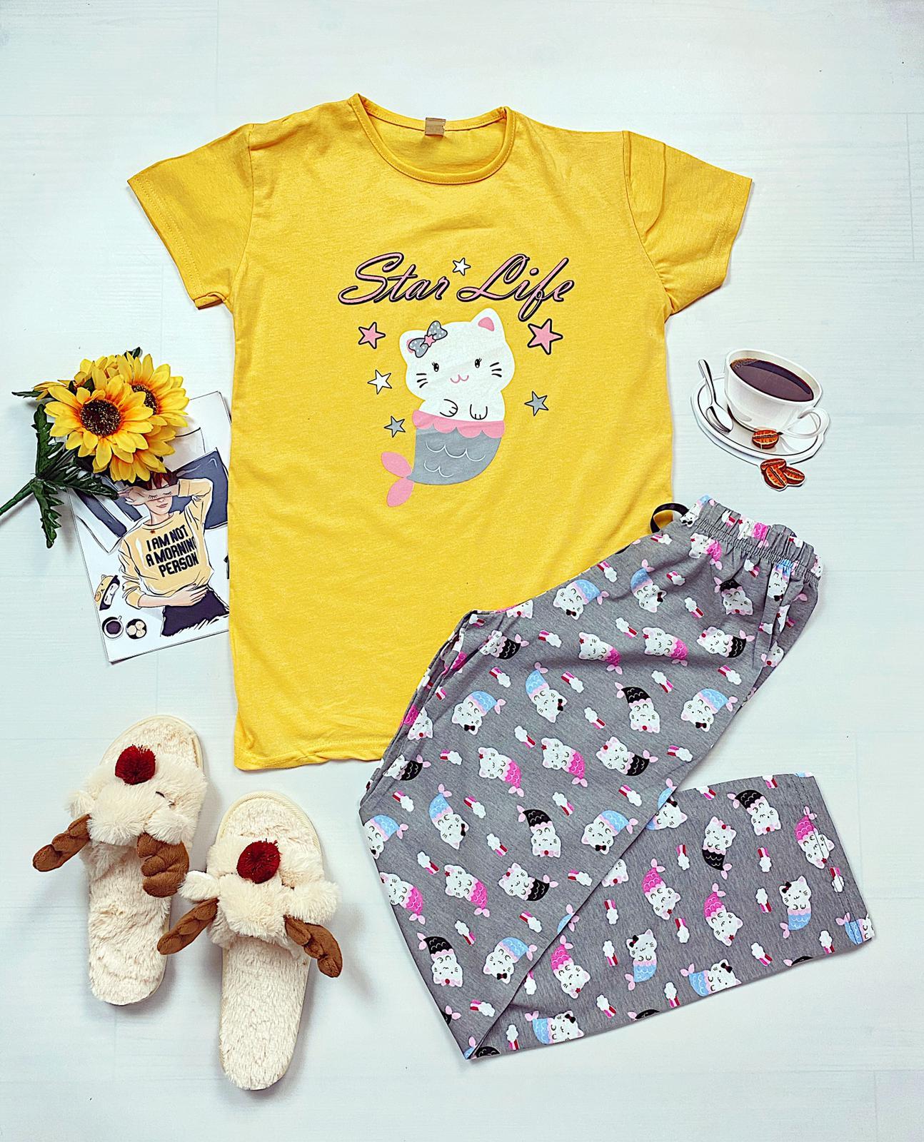 Pijama dama lunga galbena din bumbac cu imprimeu Pisirena