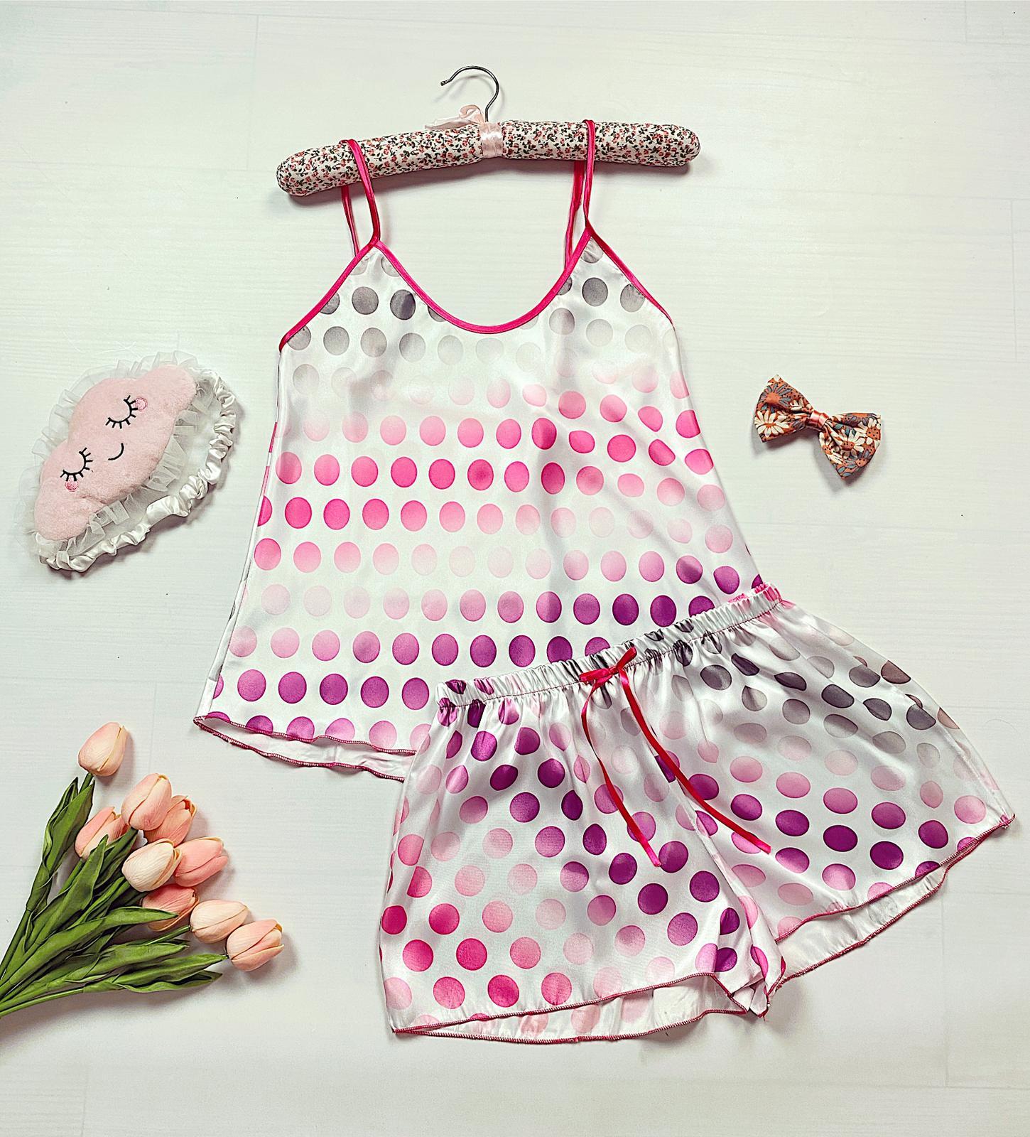 Compleu pijama scurt alb din satin cu imprimeu cercuri colorate