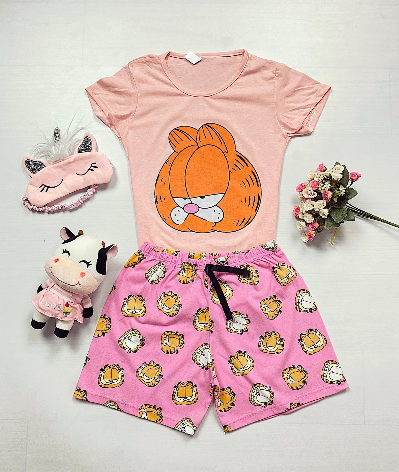 Pijama dama scurta roz cu imprimeu Garfield