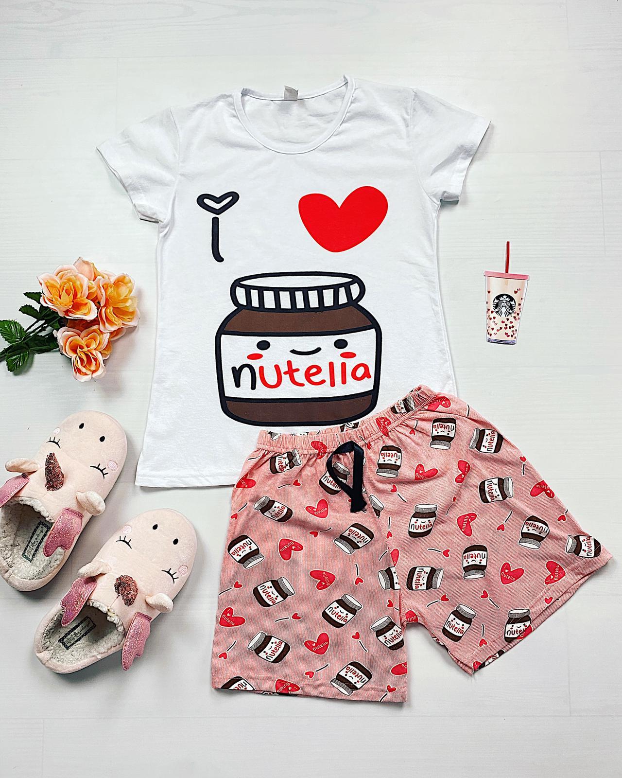 Pijama dama scurta alba cu imprimeu delicios Nutella