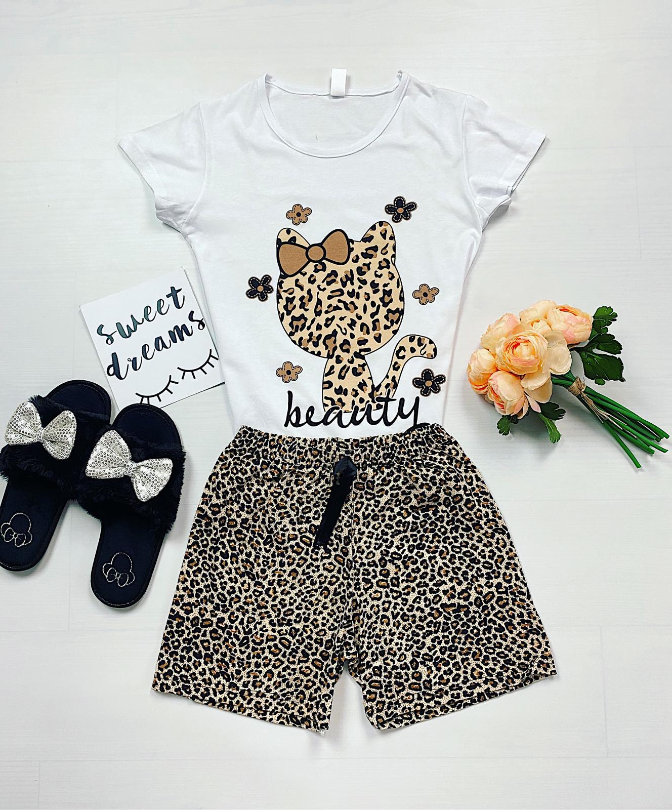 Pijama dama scurta cu imprimeu pisi animal print