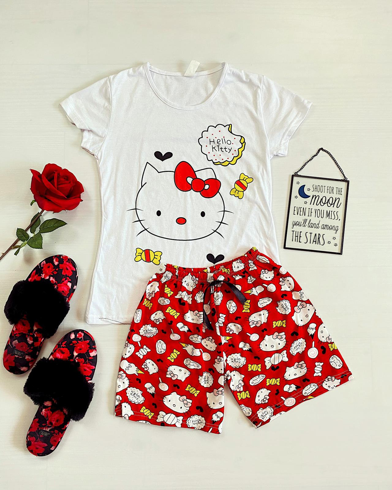 Pijama dama scurta alba cu imprimeu Hello Kitty