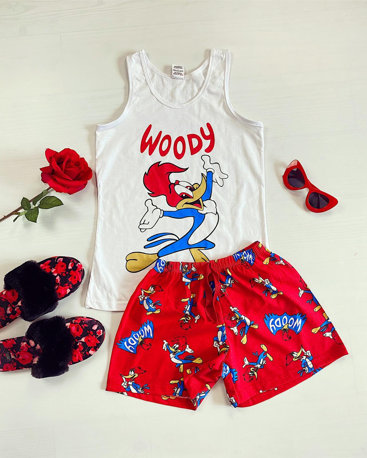 Pijama dama scurta alba imprimeu Woody