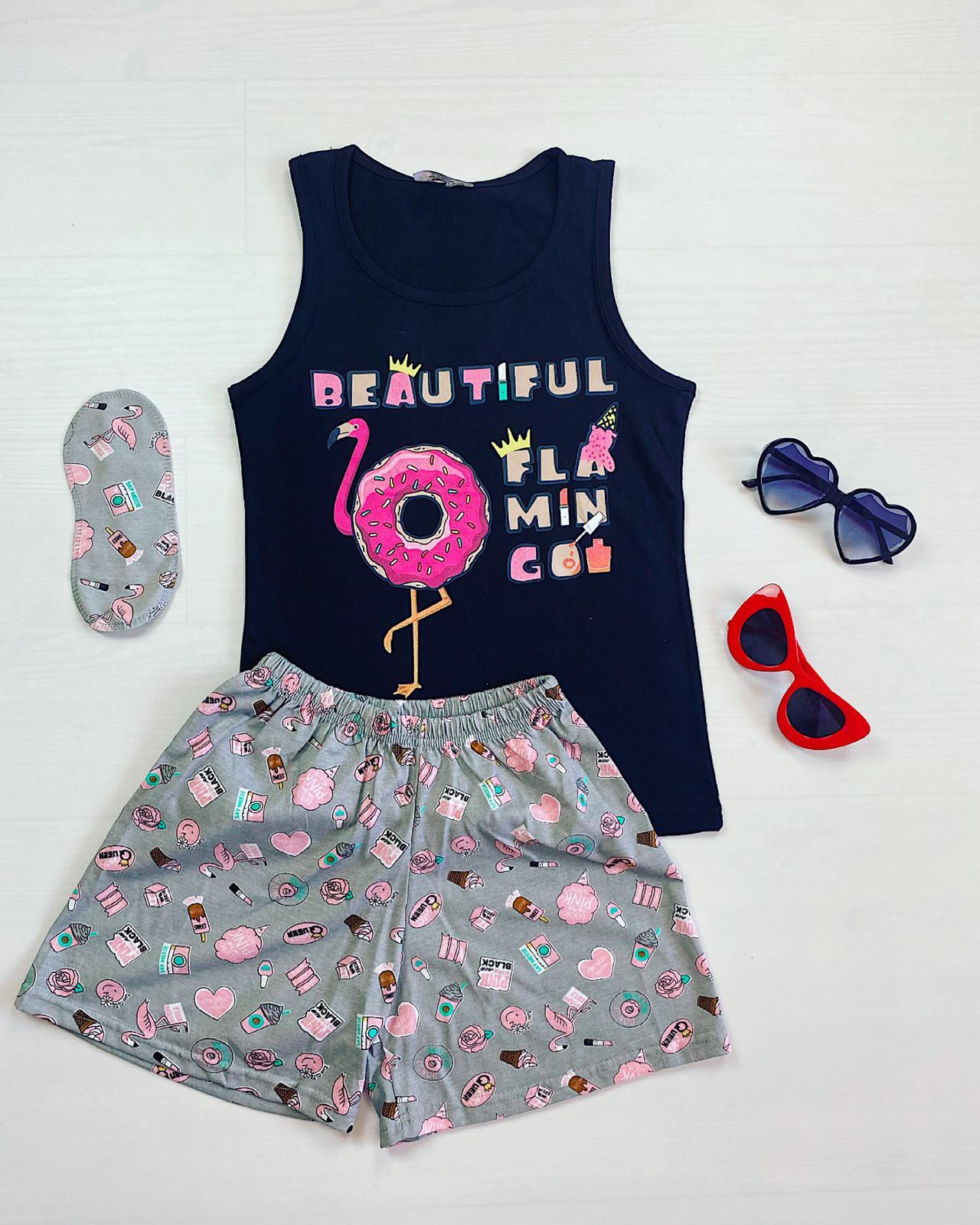 Pijama dama scurta neagra cu imprimeu Flamingo