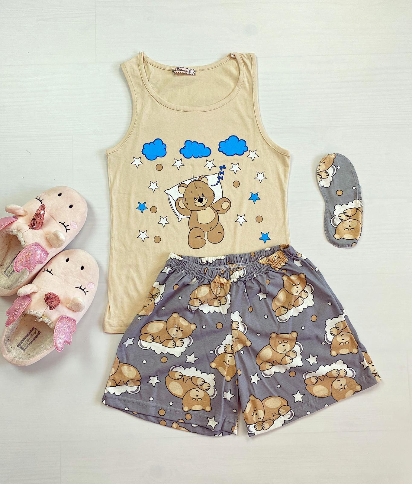 Pijama dama scurta crem cu imprimeu Ursulet