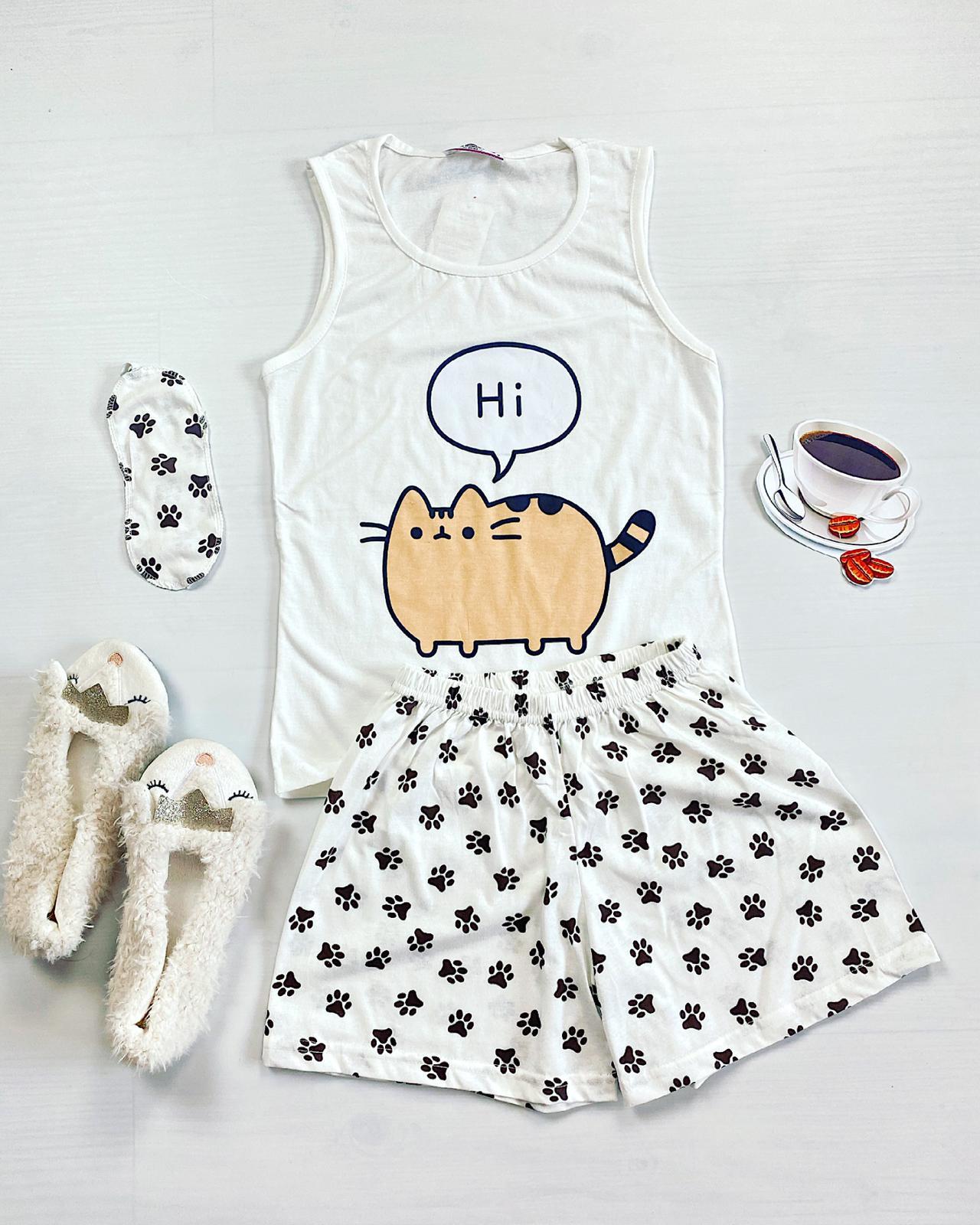Pijama dama scurta alba cu imprimeu Meow