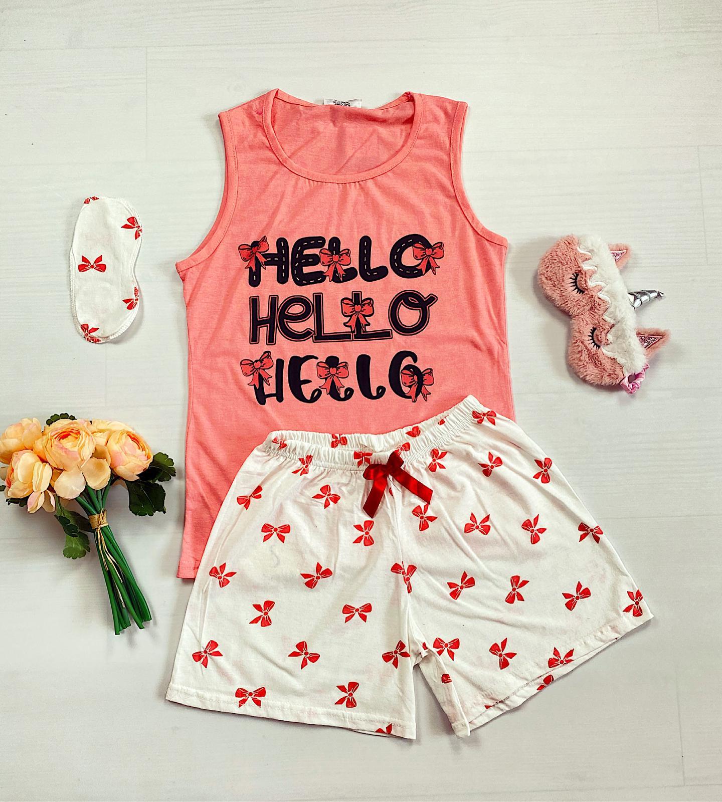 Pijama dama scurta roz cu imprimeu Hello