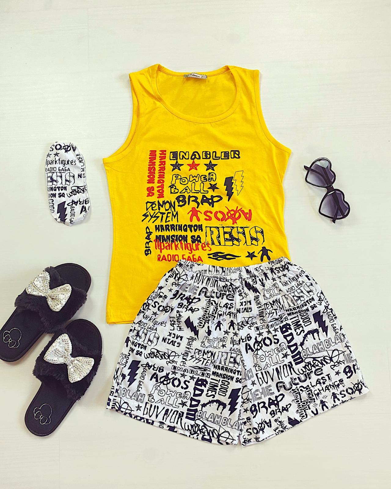 Pijama dama scurta galbena cu imprimeu Grafitti