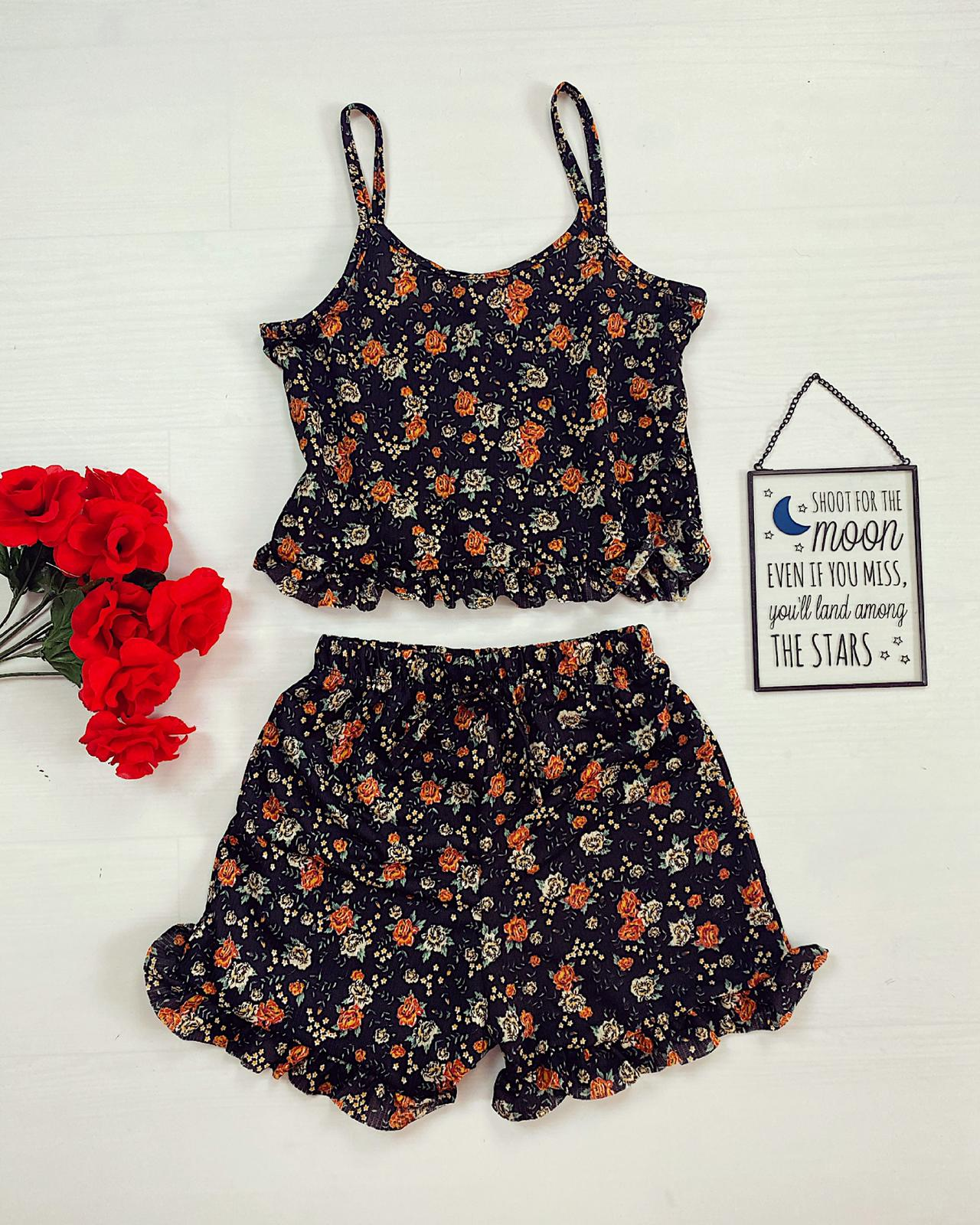 Pijama scurta neagra cu volanase Flower