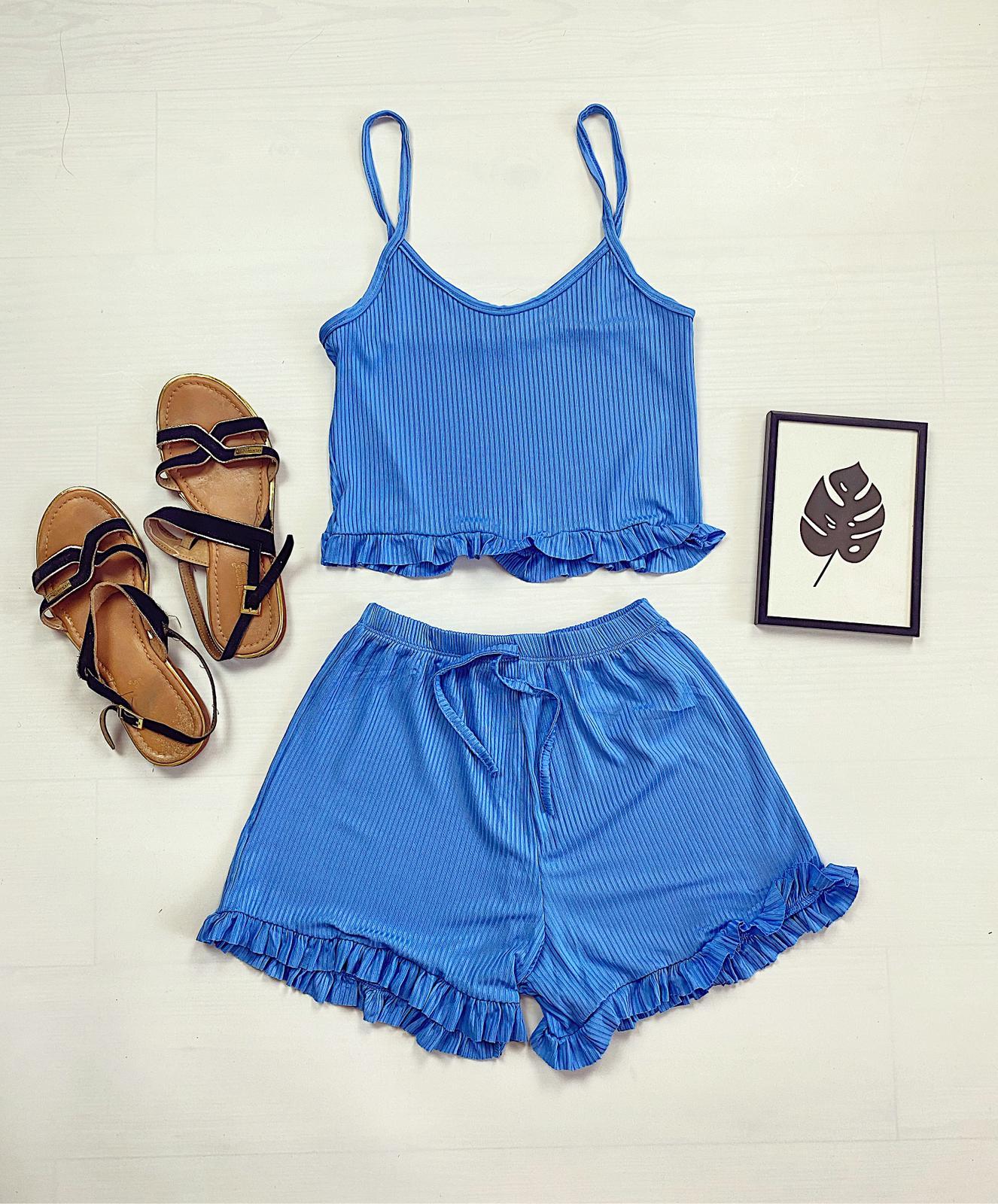 Pijama dama scurta albastra cu volanase
