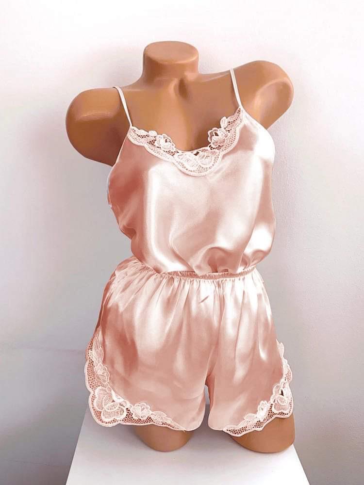 Compleu dama pijama rose din satin