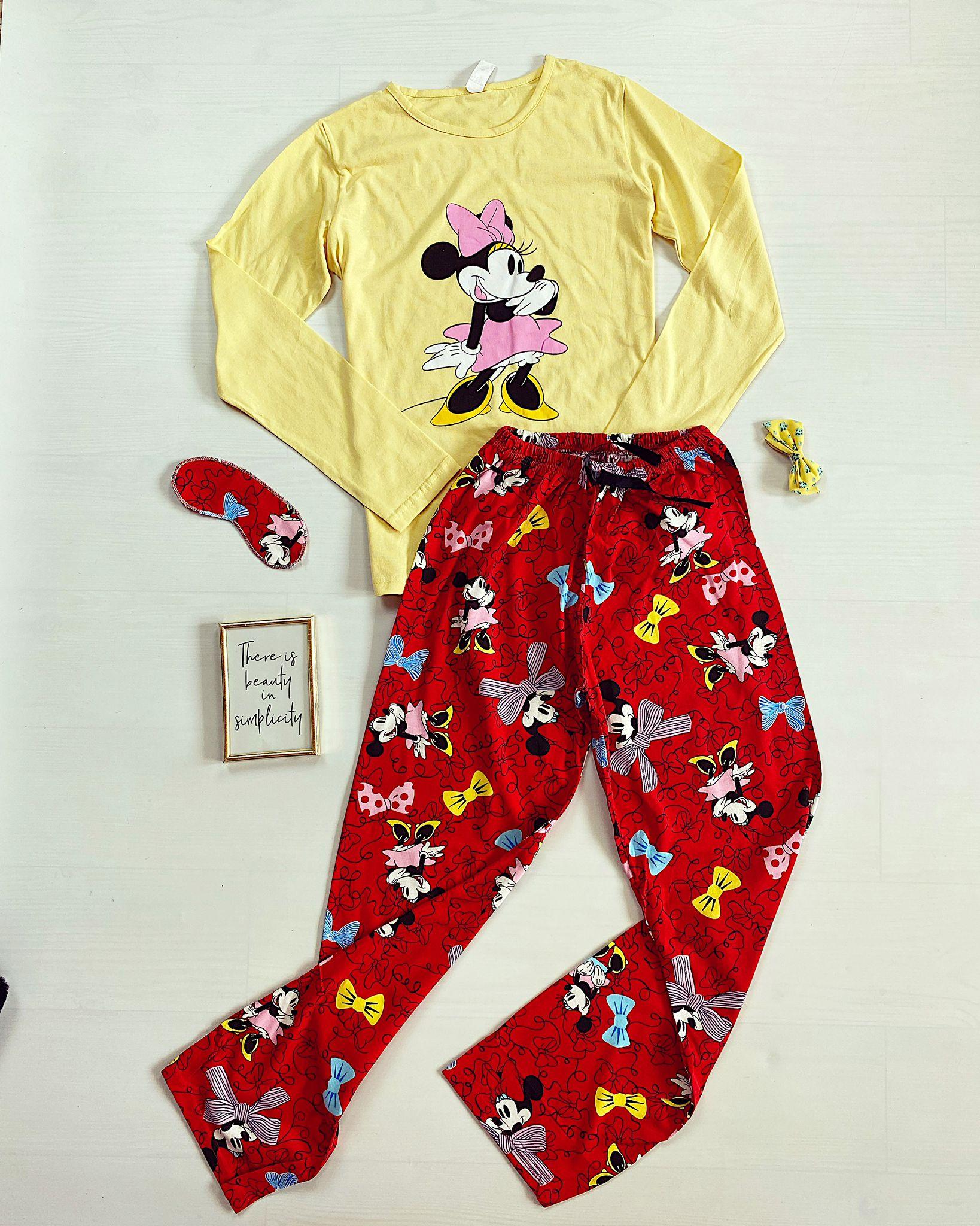 Pijama dama lunga galbena cu imprimeu Minnie