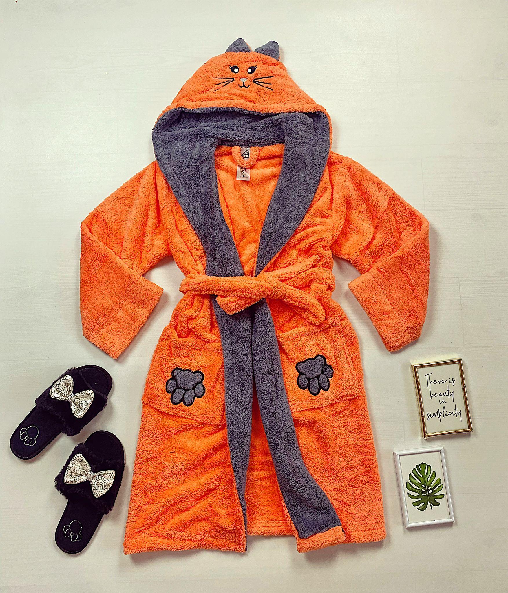 Halat dama portocaliu pufos cu gluga Bunny