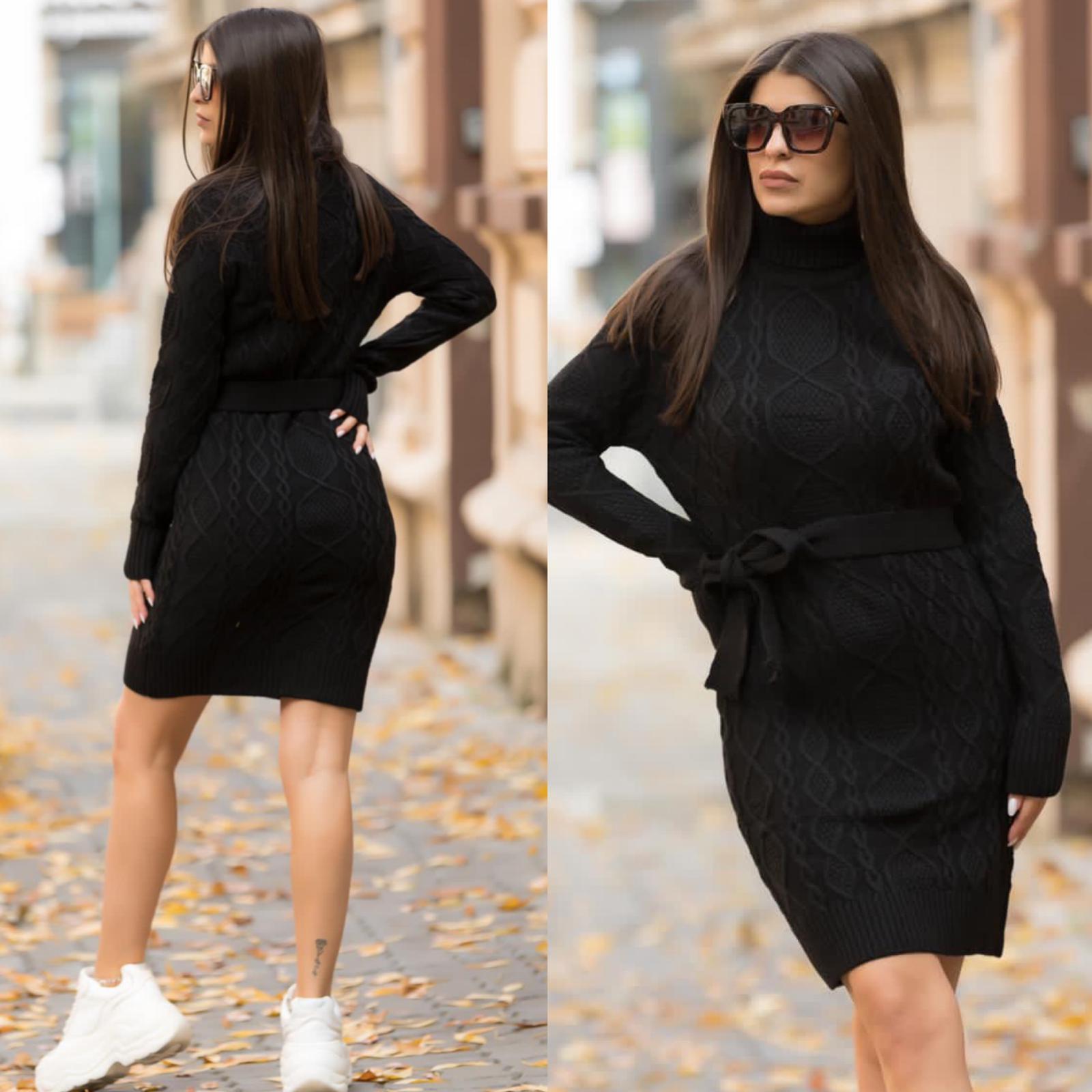 Rochie neagra scurta cu decupaj din tricot pentru iarna